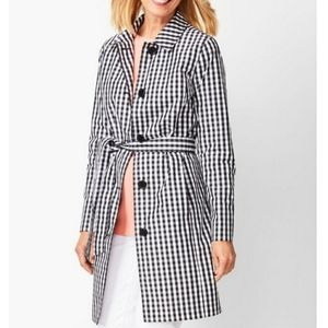 Talbots gingham water-resistant trench coat